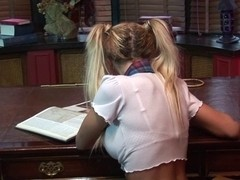 British blond whore acquires screwed in pigtails