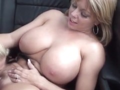 Mom and college girl lesbian sex in car