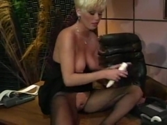 Sexy female boss Gail masturbates on office table