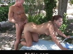 Big cock senior fucks his much younger sexy chick