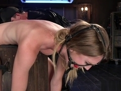 Slim blonde in various bondages tormented