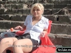 Gorgeous Czech girl Kitty Rich facialized in public for cash
