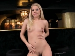 Astonishing blonde with trimmed pussy and round ass Brandy Smile masturbates