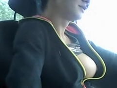 Flashing tits in the car