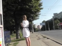 Blonde with pony tail caught on upskirt camera