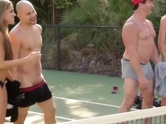 Trish and Jp play tennis with other couples