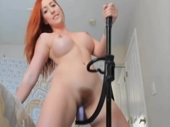 Redhead webcam whore playing with strange dildo