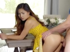 Asian girl, Elle Voneva is getting stuffed with a rock hard cock, in the dinning room