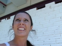 Tall and long legged girlfriend Noemi Jolie sucks on the staircase and fucks at the roof