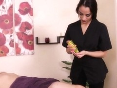 CBT loving masseuse roping restrained sub