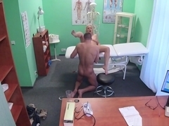 Blonde masseuse lets doctor fucks her