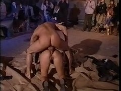 Anita Rinaldi having sex front of crowd of people