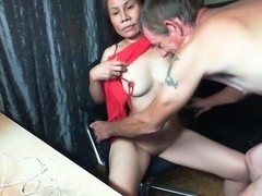 Asian couple play for webcam