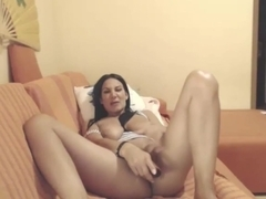 Webcam milf gives dildo footjob