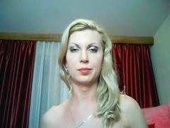 Tranny jerking cock on webcam1