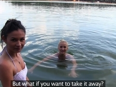 Exotic pornstars Rosaline Rosa, Cayla Lyons, Micha in Hottest Outdoor, Cunnilingus sex clip