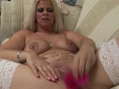 Nasty bitch Sasha loves poking her cunt with a vibrator