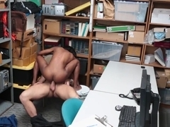 Chocolate pussy getting pounded so hard over the desk!