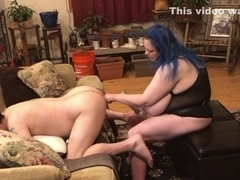 Licking, fingering and pegging hubby's tight ass