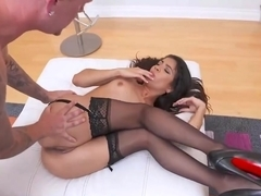 Veronica Rodriguez is a beautiful, dark haired slut who likes dicks in her pussy and mouth