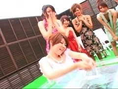 Japanese gals lotion pool