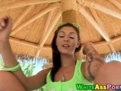 Sexy brunette slut Aimee Black tight asshole banged outdoors