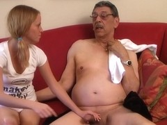 Tasty Petite Angel fucks grandpa
