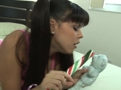 Diamond Kitty Decides To Play With A Very Big Candy Cane In