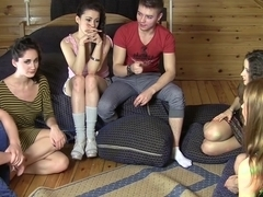 Ruth Folwer & Izi Ashley & Sabrina M  & Eva Shanti in horny guys fucking lusty college chicks in an orgy