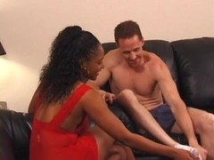Dark angel with precious whoppers gets deep white penetration on sofa