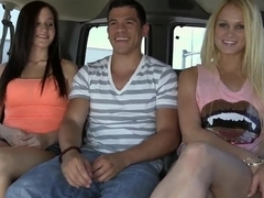 Hot threesome in a bus feat. Summer Blue