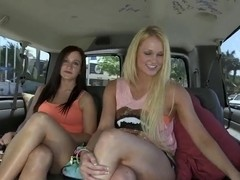 Babes Jordi Jae and Summer Blue get filmed outdoor