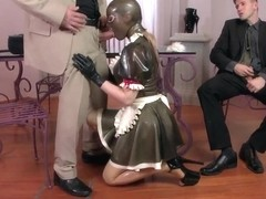 Kinky pornstar Latex Lucy pleasures two studs