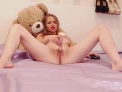 Indecent cutie furiously amuses flesh with dildo before