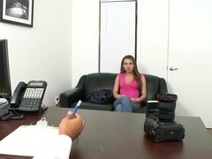 Petite girl comes by for casting