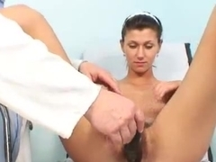 Skinny babe Amanda Vamp hairy pussy opened with ob gyn speculum
