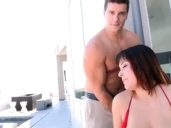 Mali Luna takes off her big bra to show her massive hills and starts to suck friend's dick