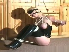 Busty Blonde Slave Gets Titties Bound By Master