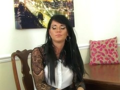 English milf Eva May dildos her nyloned fanny