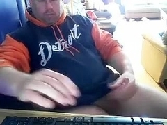 Sweet homosexual is beating off in the apartment and filming himself on computer webcam