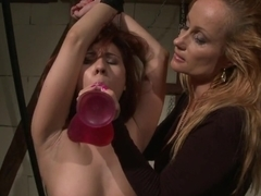 Katy Borman insert dildo to tied babe's mouth