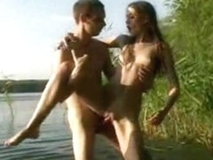 Amateur porn video with a sexy couple having fun ain the woods