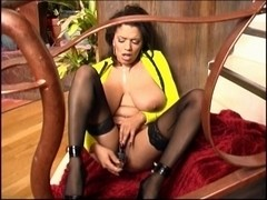 British Breasty Alexis Silver solo scene in darksome nylons