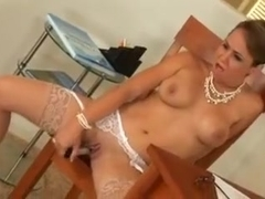 holly west strips in the office