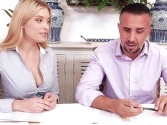 Giselle Palmer is having casual sex at work and screaming from pleasure during an orgasm