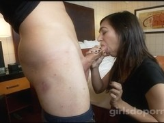 Young brunette gave me a wonderful sloppy blowjob