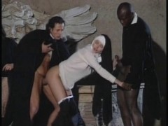 Italian nuns getting wild in a group sex scene