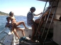 Two cocks at once on a boat for Anne's filthy holes