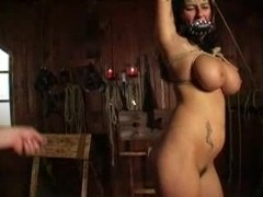 Slave girl tied up and punished hard by a whip