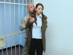 Sanae Asou hot mature Asian babe in police costume fucks behind bars